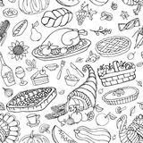 Thanksgiving day doodle icons seamless pattern Royalty Free Stock Photography