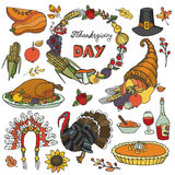 Thanksgiving day doodle icons,wreath.Colorful set Royalty Free Stock Photo