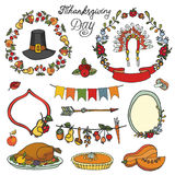 Thanksgiving day.Doodle set.Colorful collection Stock Photo