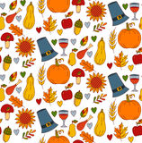 Thanksgiving day doodles seamless vector pattern Royalty Free Stock Images