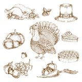 Thanksgiving Day Elements Monochrome Set. With hat and pumpkin pie turkey fruit and vegetables isolated vector illustration Stock Image