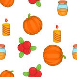 Thanksgiving day elements pattern, cartoon style. Thanksgiving day elements pattern. Cartoon illustration of Thanksgiving day elements vector pattern for web Royalty Free Stock Image