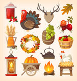 Thanksgiving day elements vector illustration