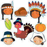 Thanksgiving Day faces and elements set Royalty Free Stock Photos