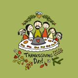 Thanksgiving day, family together have a dinner. Sketch for your design Stock Photography