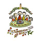 Thanksgiving day, family together have a dinner. Sketch for your design Stock Image