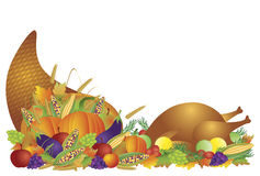 Thanksgiving Day Feast Cornucopia and Turkey. Thanksgiving Day Fall Harvest Cornucopia with Turkey Dinner Feast Pumpkins Fruits and Vegetables illustration Royalty Free Stock Images