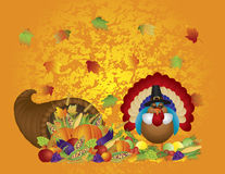 Thanksgiving Day Feast Cornucopia Turkey Pilgrim w Royalty Free Stock Photo