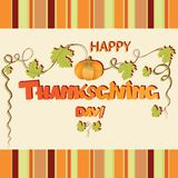 Thanksgiving Day. Festive greeting with pumpkin. Design for a greeting card, poster or banner Stock Photo