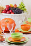 Thanksgiving Day. Festive lunch with traditional table decoratio Royalty Free Stock Image