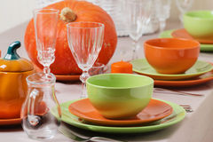 Thanksgiving Day. Festive lunch with traditional table decoratio Stock Images
