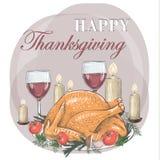 Thanksgiving Day. Festive table. Postcard Thanksgiving turkey poster vector Stock Photos