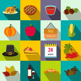 Thanksgiving day flat icons Stock Photography