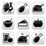 Thanksgiving Day food buttons set - turkey, pumpkin pie, cranberry sauce, apple juice. Celebrating Thanksgiving - design elements in black isolated on white Stock Photography