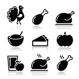 Thanksgiving Day food icons set - turkey, pumpkin pie, cranberry sauce, apple juice Stock Photo