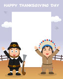 Thanksgiving Day Frame Pilgrim Native Men Stock Photo