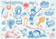 Thanksgiving day fun doodles Royalty Free Stock Image