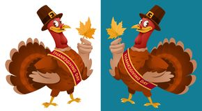 Thanksgiving Day. Funny cartoon turkey in a pilgrim hat keeps. The autumn leaf. Vector illustration. On dark background and isolated on white. Elements is Royalty Free Stock Photos