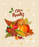 Thanksgiving day. Give thanks. Thanksgiving party poster with bright background. Harvest festival Stock Photography