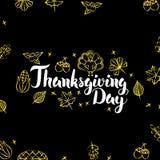 Thanksgiving Day Gold Black Postcard Royalty Free Stock Photo