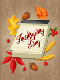 Thanksgiving Day greeting card. Background with calendar and autumn objects Stock Images