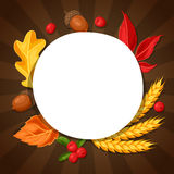 Thanksgiving Day greeting card. Background with copy space and autumn objects Stock Photo