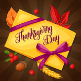 Thanksgiving Day greeting card. Background with letter and autumn objects Royalty Free Stock Photo