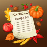Thanksgiving Day greeting card. Background with note and autumn objects Royalty Free Stock Images