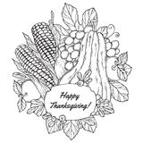 Thanksgiving Day greeting card with berries, vegetables and fruits Stock Photos