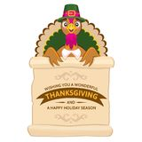 Thanksgiving Day greeting card with cute happy cartoon of turkey bird. Stock Photography