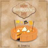 Thanksgiving Day Greeting Card. Pumpkin Pie on Kraft Happy Thanksgiving Day Card. Retro Style. Vector Illustration Stock Photo