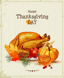 Thanksgiving day. Greeting card with turkey, pumpkin, autumn leaves, apples, berries, fruits, vegetables. Stock Photo