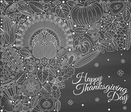 Thanksgiving day greeting card. Various elements for design. Cartoon vector illustration Stock Image