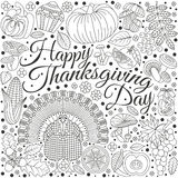 Thanksgiving day greeting card. Various elements for design. Cartoon vector illustration Royalty Free Stock Photo