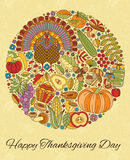Thanksgiving day greeting card. Various elements for design. Cartoon vector illustration Stock Photo