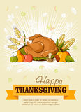 Thanksgiving day. Greeting card. Vector poster Royalty Free Stock Photography