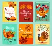 Thanksgiving Day greeting cards set Stock Photos