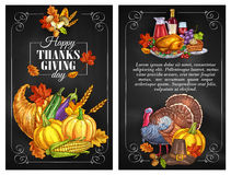 Thanksgiving Day greeting holiday banners. And posters with copyspace. Traditional design of food abundance. Thanksgiving color sketch turkey symbol, cornucopia Royalty Free Stock Photos