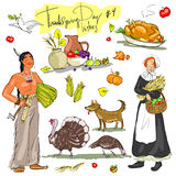 Thanksgiving day hand drawn collection. Set 4 Stock Images