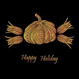 Thanksgiving day or Happy Halloween card with pumpkin and corns. Stock Photo