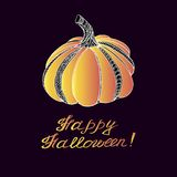 Thanksgiving day or Happy Halloween card with pumpkin. Stock Photography
