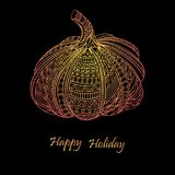 Thanksgiving day or Happy Halloween card with pumpkin. Royalty Free Stock Photography