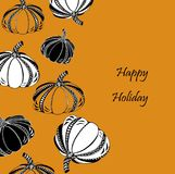 Thanksgiving day or Happy Halloween card with pumpkin. Royalty Free Stock Photos