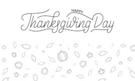 Thanksgiving Day. Happy Thanksgiving Day lettering and autumnal icons of pumpkin and fall leaves Royalty Free Illustration