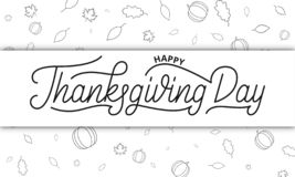 Thanksgiving Day. Happy Thanksgiving Day lettering and autumnal icons of pumpkin and fall leaves Stock Illustration