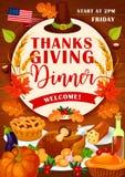 Thanksgiving Day holiday festive dinner invitation. Thanksgiving Day festive dinner invitation card for autumn harvest holiday celebration template. November vector illustration