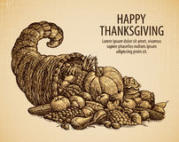 Thanksgiving day. Holiday greeting card. Vintage sketch cornucopia with fruits and vegetables Royalty Free Stock Images