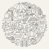 Thanksgiving Day Holiday Line Icons Set Circle Concept Royalty Free Stock Images