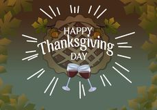 Thanksgiving Glasses and pie on the background royalty free illustration