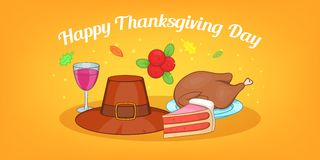 Thanksgiving day horizontal banner, cartoon style. Thanksgiving day horizontal banner concept. Cartoon illustration of thanksgiving day vector horizontal banner Stock Photography